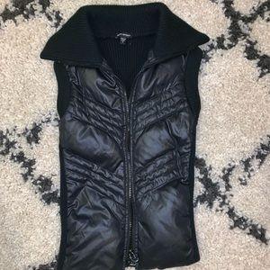 Bebe sport shiny black puffed vest sweater